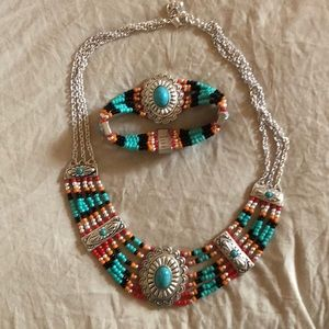 Turquoise and Concho style jewelry Set